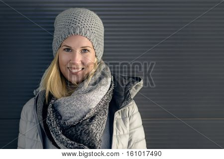 Pretty Young Blond Woman In Trendy Winter Outfit