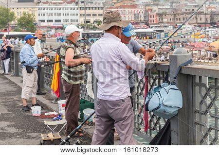 Fishermen Are On Galata Bridge. Istanbul