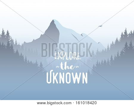 Mountain and forest landscape vector illustration with foggy, haze mountains valley. Concept of exploration, adventure. Eps10 vector illustration.