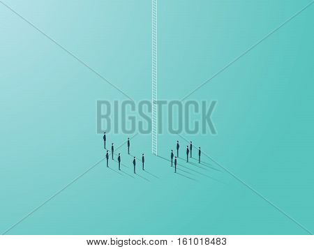 Business career ladder concept with small businessmen vector symbol. Corporate structure climbing opportunity. Eps10 vector illustration.