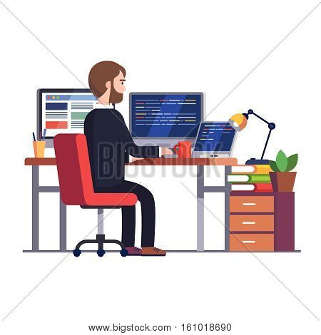 Professional programmer engineer working writing code at his big desk with multiple displays and laptop computer. Modern colorful flat style vector illustration isolated on white background.