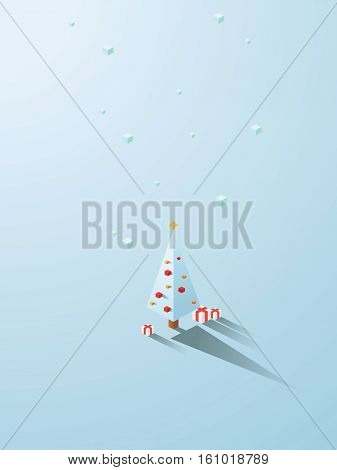 Christmas tree in modern minimalistic isometric polygonal geometric style. White background with snowing. Eps10 vector illustration.
