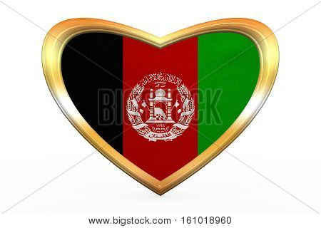 Afghan national official flag. Patriotic symbol banner element. Correct colors. Flag of Afghanistan in heart shape isolated on white background. Golden frame fabric texture. 3D illustration