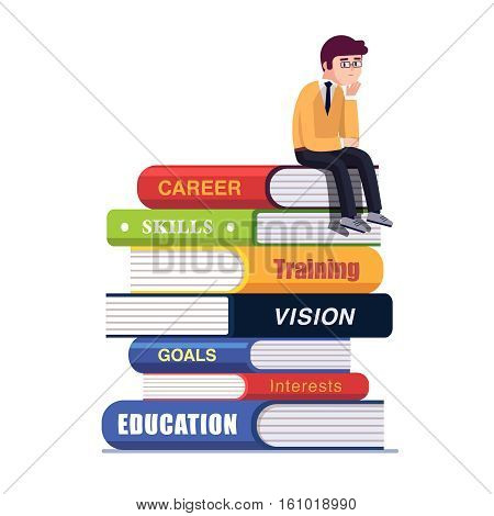 Business thinker sitting on a pile of big books representing his education and professional career establishment path thinking about future. Flat style vector illustration isolated on white background