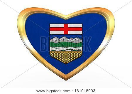 Flag Of Alberta In Heart Shape, Golden Frame
