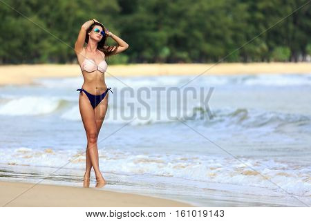 Sexy Model Posing At Tropical Beach