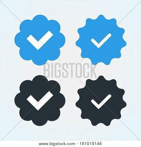 Verified and approve sign for social networks. Vector kit. Good for web badges buttons pins.