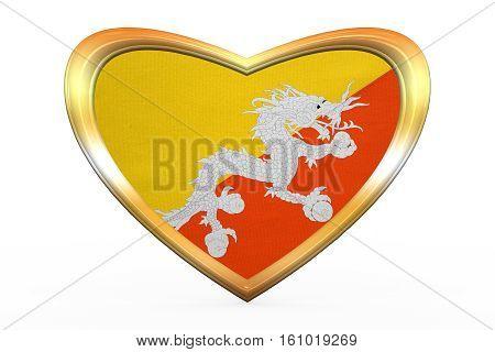 Flag Of Bhutan In Heart Shape, Golden Frame