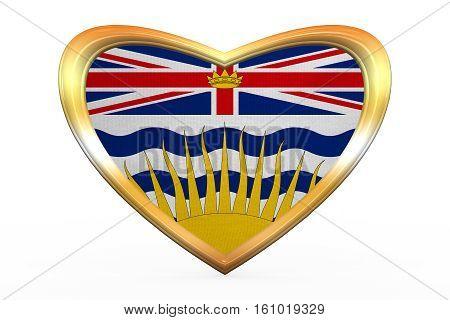 Flag Of British Columbia Heart Shape, Golden Frame
