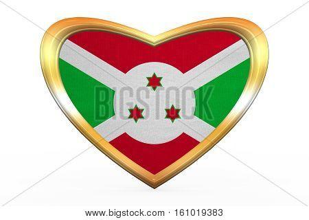 Flag Of Burundi In Heart Shape, Golden Frame