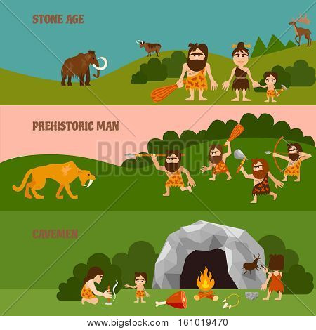 Stone age horizontal banners with hunting  cavemen cave tribe bonfire and animals in flat style vector illustration