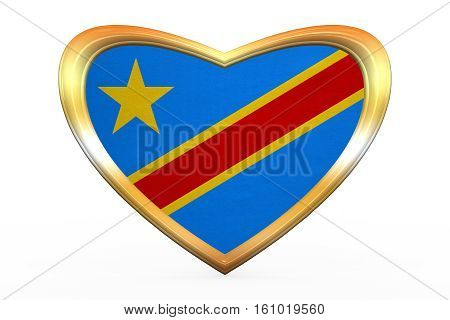 Flag Of Dr Congo In Heart Shape, Golden Frame