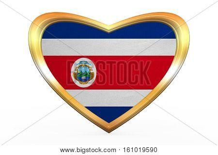 Flag Of Costa Rica In Heart Shape, Golden Frame