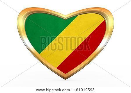 Flag Of The Congo Republic In Golden Heart Shape