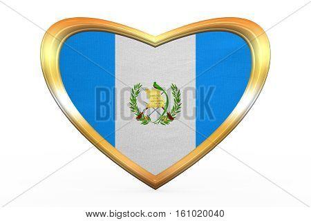 Flag Of Guatemala In Heart Shape, Golden Frame