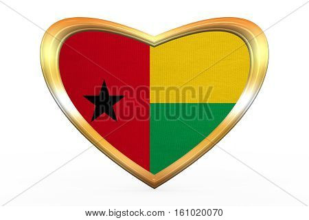 Flag Of Guinea-bissau In Heart Shape, Golden Frame