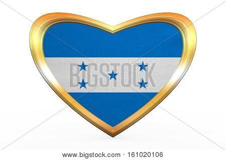 Flag Of Honduras In Heart Shape, Golden Frame