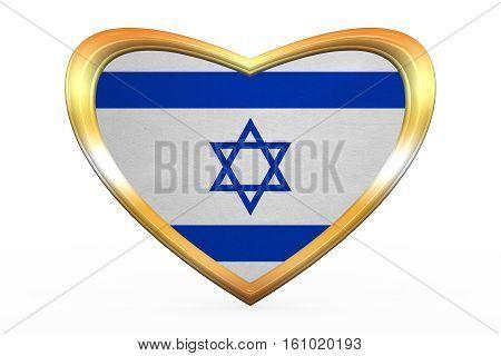 Flag Of Israel In Heart Shape, Golden Frame