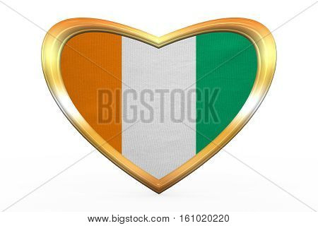 Flag Of Ivory Coast In Heart Shape, Golden Frame