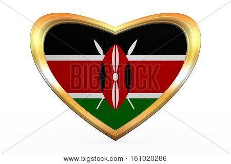 Flag Of Kenya In Heart Shape, Golden Frame