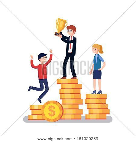 Business people competitors standing on a winner podium celebrating success and holding golden cup award. Modern colorful flat style vector illustration isolated on white background.