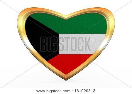 Flag Of Kuwait In Heart Shape, Golden Frame