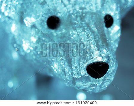 Muzzle luminous polar bear Christmas decoration blue tone LED