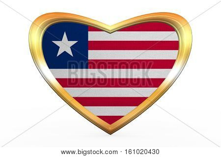 Flag Of Liberia In Heart Shape, Golden Frame