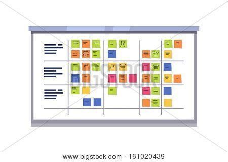 White scrum board full of tasks on sticky note cards. Iterative agile software development framework for managing product development. Flat style vector illustration isolated on white background.