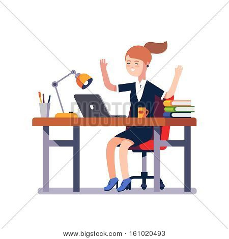 Business woman sitting at the office desk with a laptop raises up hands in winner gesture celebrating working achievement or breakthrough. Flat style vector illustration isolated on white background.