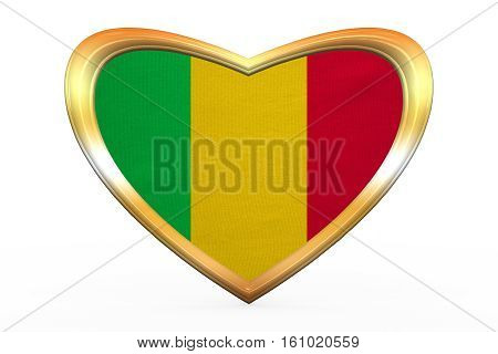 Flag Of Mali In Heart Shape, Golden Frame