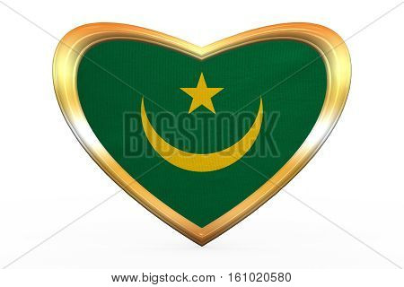 Flag Of Mauritania In Heart Shape, Golden Frame