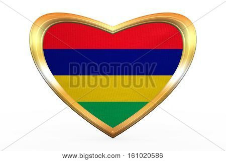 Flag Of Mauritius In Heart Shape, Golden Frame