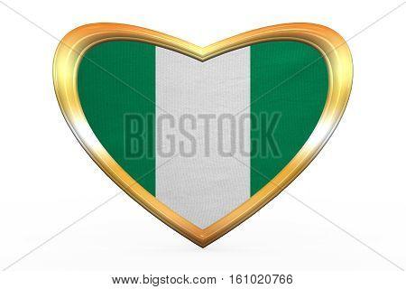 Flag Of Nigeria In Heart Shape, Golden Frame