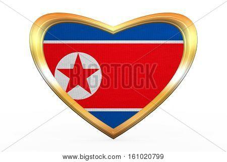Flag Of North Korea In Heart Shape, Golden Frame