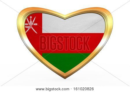Flag Of Oman In Heart Shape, Golden Frame