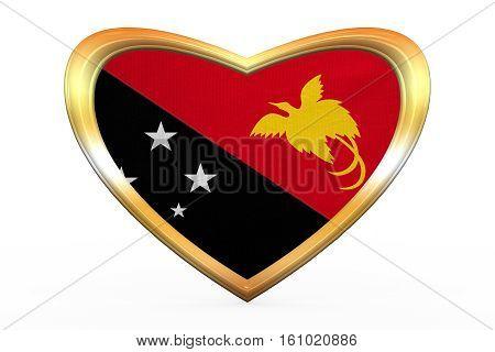 Flag Of Papua New Guinea Heart Shape, Golden Frame