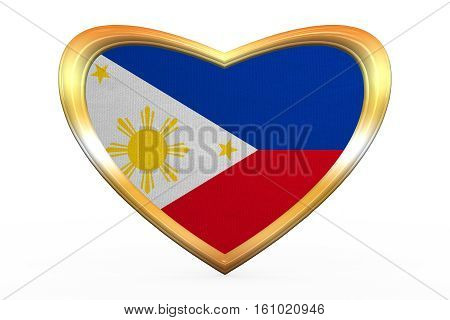 Flag Of The Philippines, Heart Shape, Golden Frame