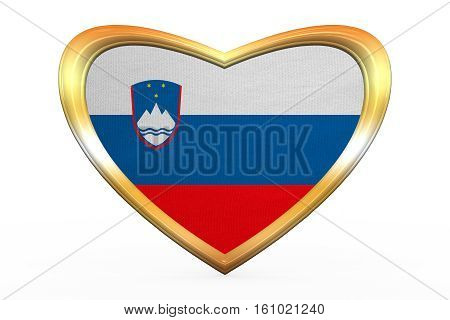 Flag Of Slovenia In Heart Shape, Golden Frame
