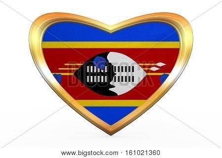 Flag Of Swaziland In Heart Shape, Golden Frame