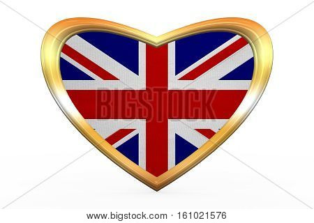 Flag Of United Kingdom, Heart Shape, Golden Frame