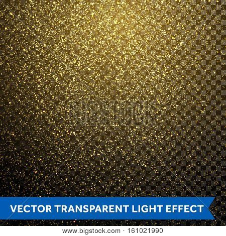 Gold glitter particles on transparent background. Cosmic space nebula shine. Vector golden dust texture. Twinkling confetti, shimmering star lights. Magic glowing sparkles spray for Christmas decor