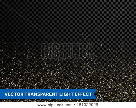 Shimmering glow glittering vector gold glitter particles effect for luxury greeting card. Sparkling texture of star dust light sparks magic glitter spray on transparent background