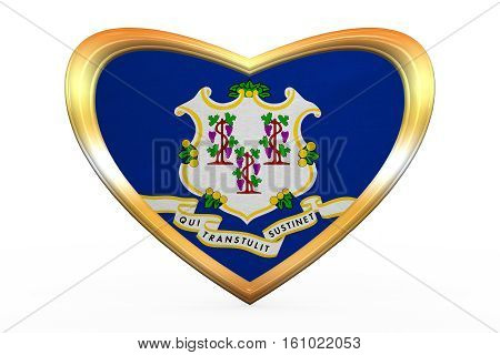 Flag Of Connecticut In Heart Shape, Golden Frame