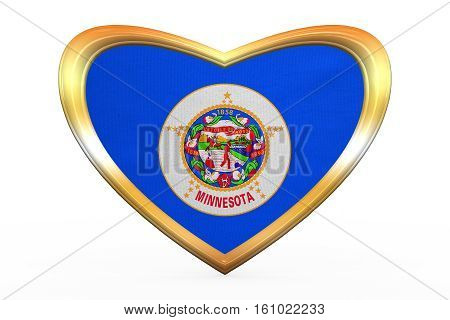 Flag Of Minnesota In Heart Shape, Golden Frame