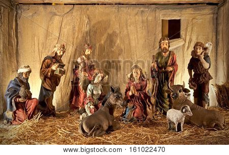 Christmas scene with figurines representing the birth of Jesus Christ.