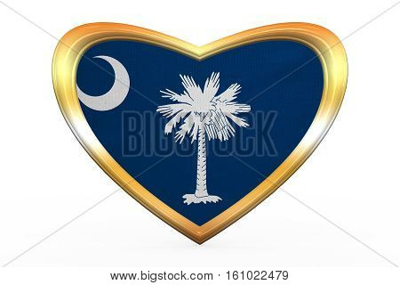 Flag Of South Carolina, Heart Shape, Golden Frame