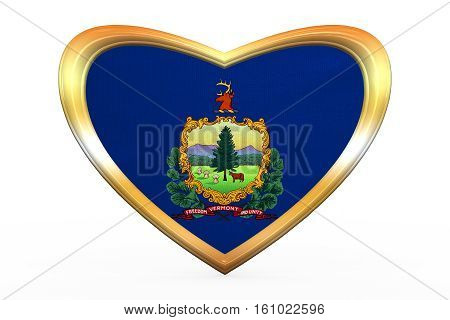 Flag Of Vermont In Heart Shape, Golden Frame