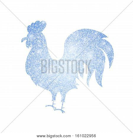 frozen silver rooster silhouette vector illustration of chinese happy new year symbol