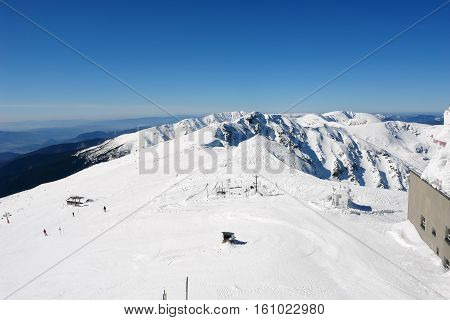 Panoramic view of the ski slopes of the mountains on the south side of Chopok Low Tatras Slovakia.